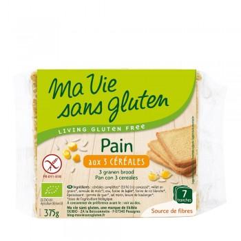 Paine cu 3 cereale feliata - fara gluten (375g), Ma vie sans gluten