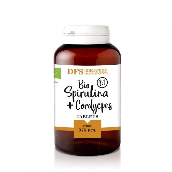 Bio Spirulina + cordyceps - 375 tablete bio x 400mg - (150g), Diet-Food