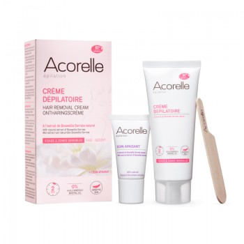 Crema depilatoare naturala pentru fata si zone sensibile (75ml), Acorelle