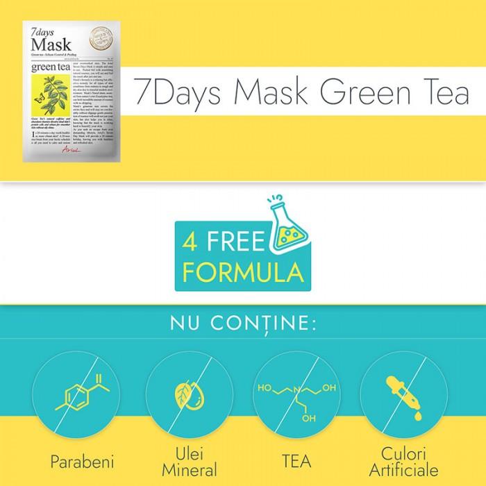 Masca servetel 7Days Ceai Verde - controlul sebumului si exfoliere (20 grame), Ariul