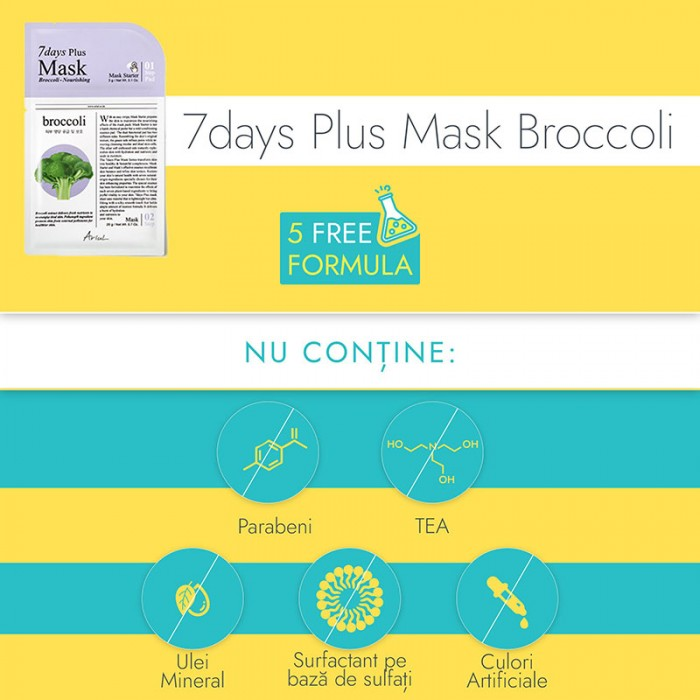 Masca servetel 7Days Plus Broccoli - hranire si vitaminizare (23 grame), Ariul