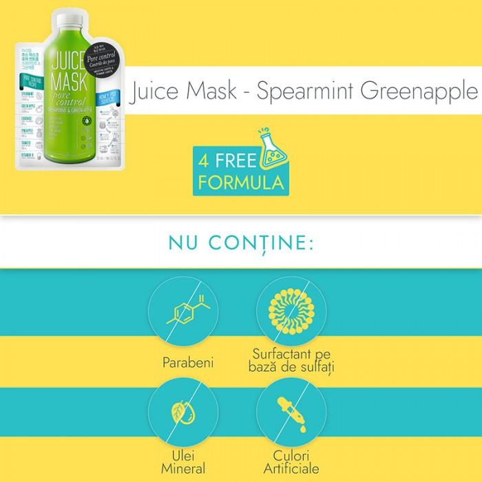 Masca servetel Juice Menta si Mar Verde - controlul porilor, exfoliere si controlul sebumului (20 grame), Ariul