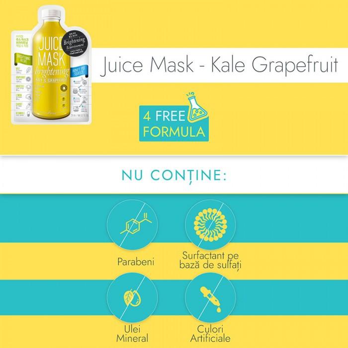 Masca servetel Juice Varza Kale si Grapefruit - luminozitate si purificare (20 grame), Ariul