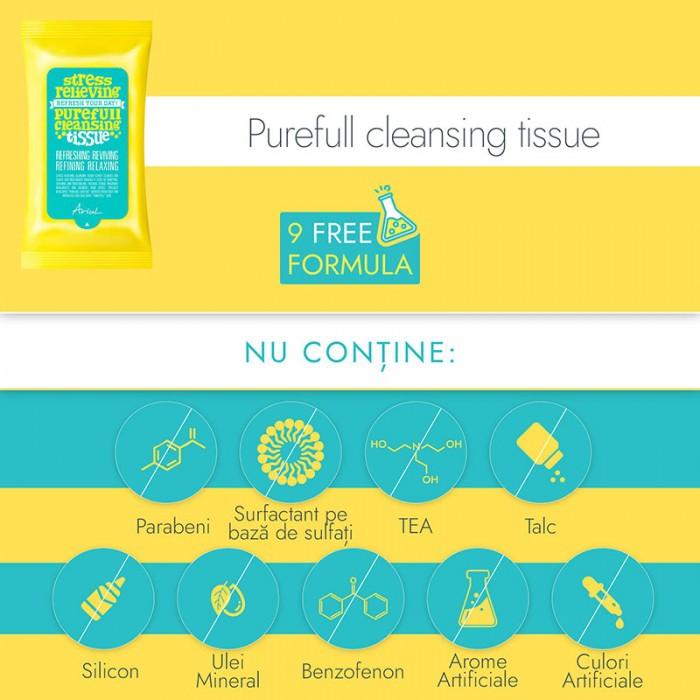 Servetele de curatare a tenului Stress Relieving Purefull Cleansing Tissue (15 bucati), Ariul