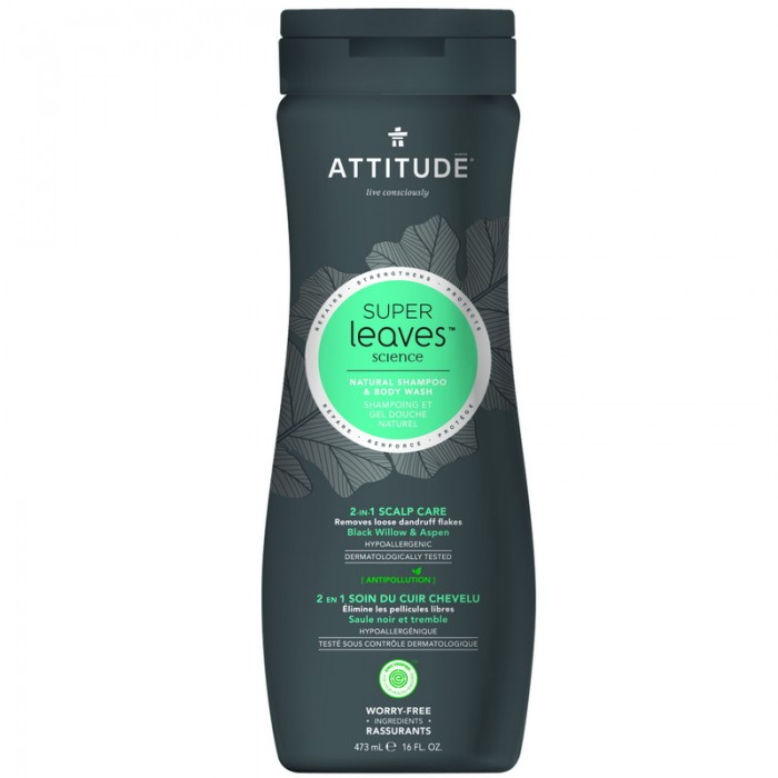 Superleaves 2 in 1 Sampon si gel de dus pentru ingrijire scalp barbati (473 ml), Attitude