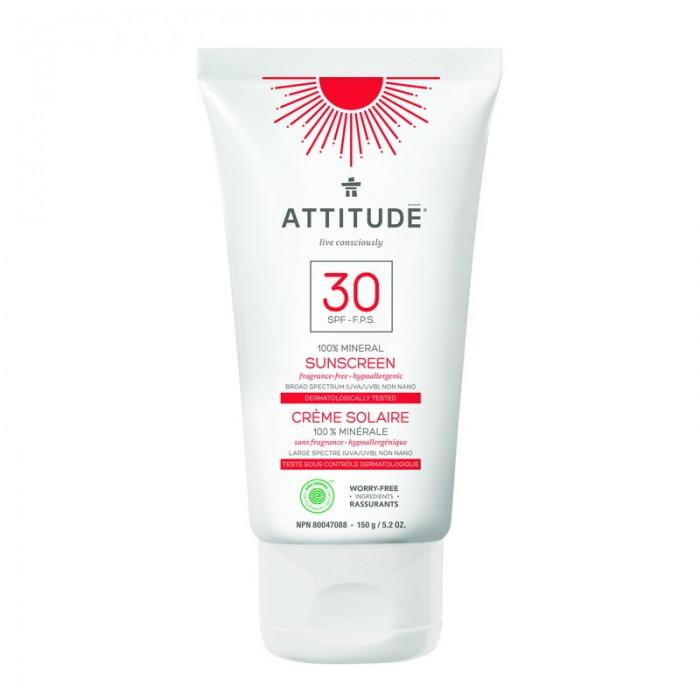 Lotiune protectie solara, SPF 30, fara miros (150 grame), Attitude