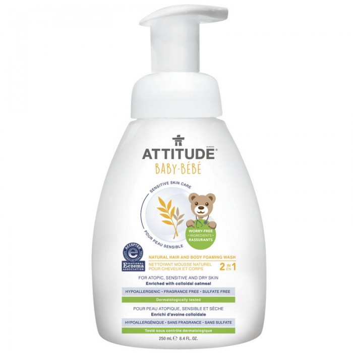 Sensitive Skin Baby Natural Spuma pentru par si corp (250 ml), Attitude