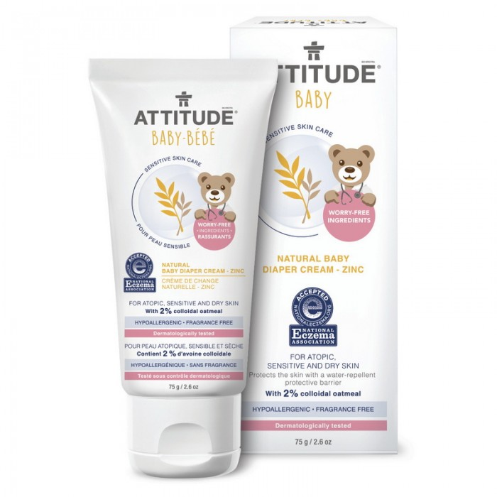 Sensitive Skin Baby Natural Crema pentru zona scutec, Zinc (75 ml), Attitude