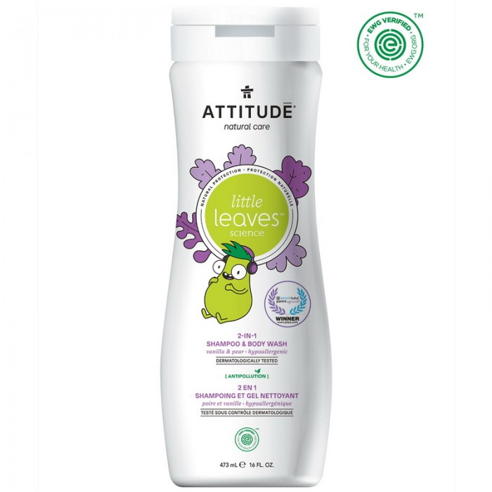 Little Leaves 2 in 1 shampon si gel de dus, vanilie si pere (473 ml), Attitude