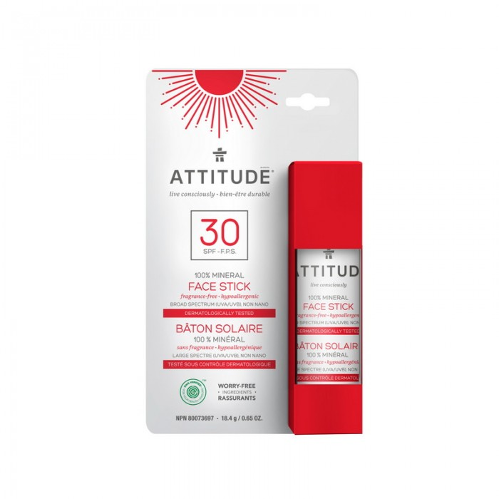 Stick pentru protectia fetei, SPF 30, fara miros (18,4 grame), Attitude