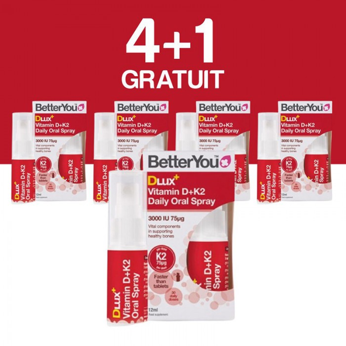 DLux+ Vitamin D3+K2 Oral Spray (12ml), BetterYou 4+1 Gratuit