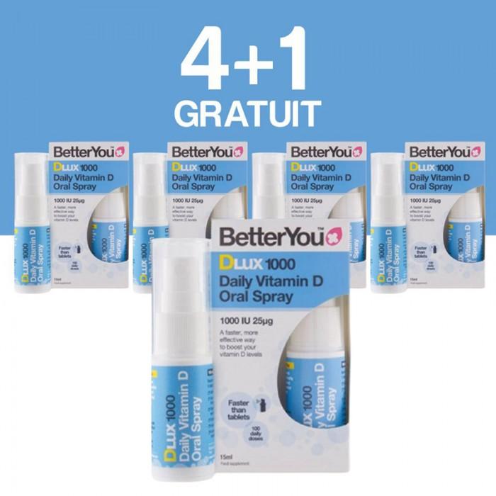 DLux 1000 Vitamin D Oral Spray (15ml), BetterYou 4+1 Gratuit