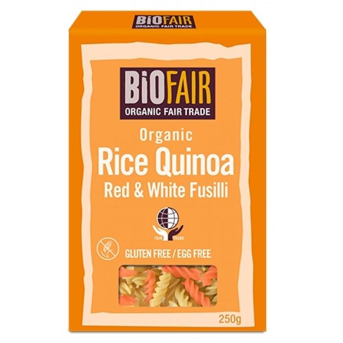 Fusilli din orez si quinoa rosie si alba bio (250 grame), Biofair