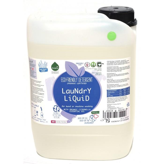 Detergent ecologic lichid pentru rufe albe si colorate cu lamaie (5 litri), Biolu