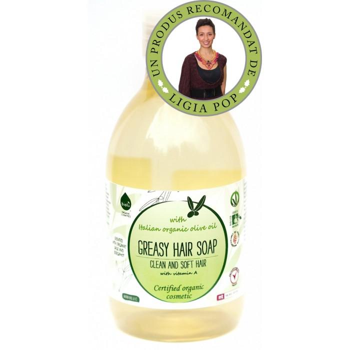 Sampon ecologic cu ulei de masline pentru par gras (300 ml), Biolu