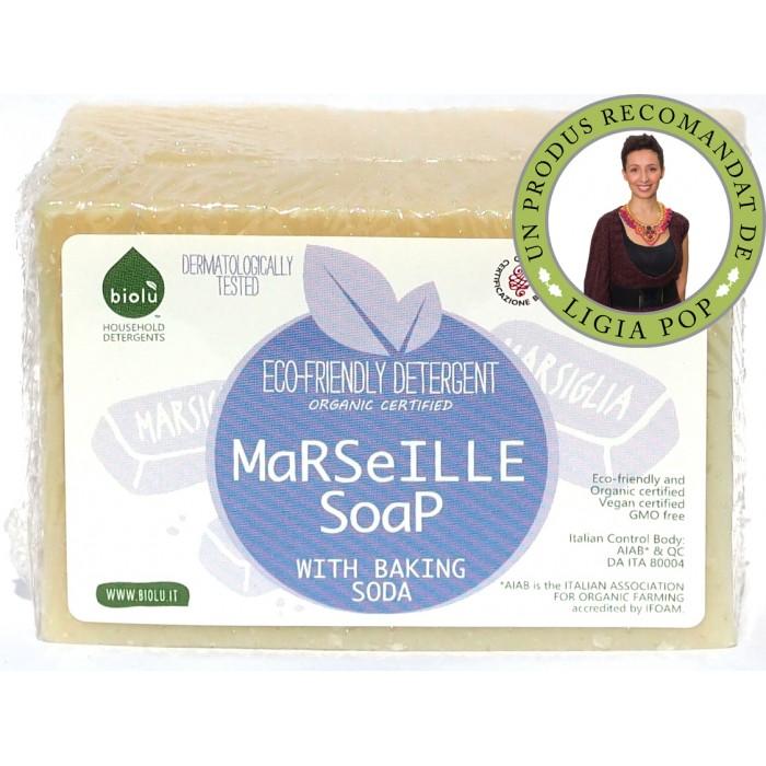 Sapun solid de Marsilia, ecologic pentru rufe (140 grame), Biolu