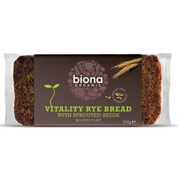 Paine integrala de secara Vitality cu seminte germinate bio (500 grame), Biona