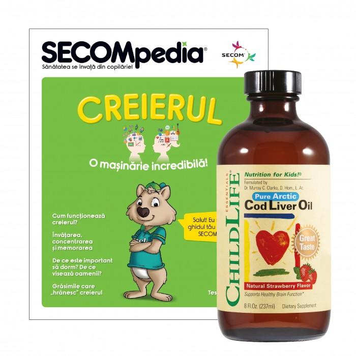 Cod Liver Oil 237ml (gust de capsuni), ChildLife Essentials