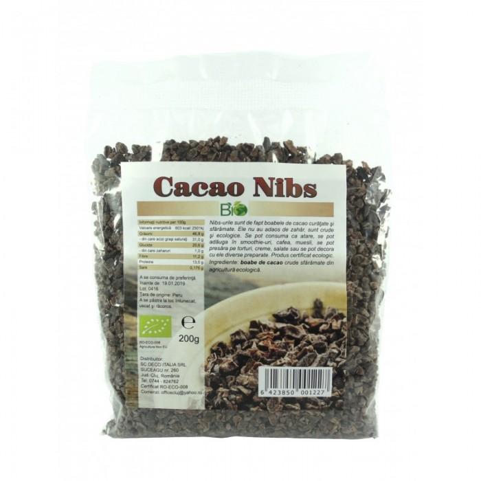 Cacao nibs (miez) bio crud (200 grame)