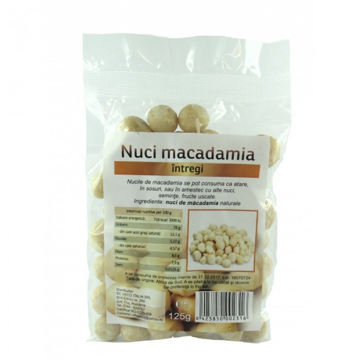 Nuci de macadamia (125 grame)