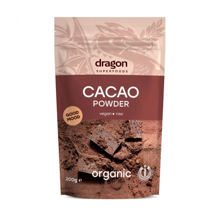 Cacao pudra raw bio (200 grame), Dragon Superfoods