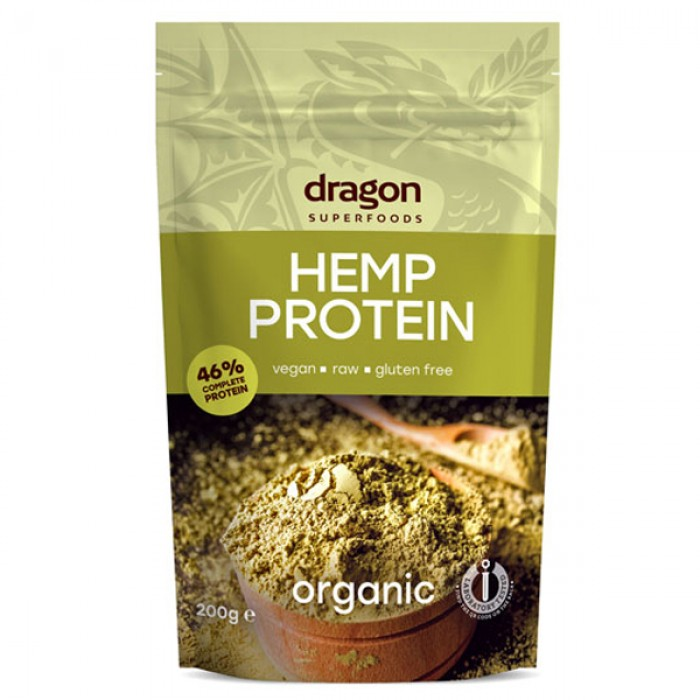 Pudra proteica din canepa raw bio (200 grame), Dragon Superfoods