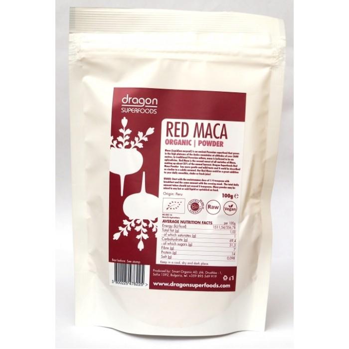 Maca rosie pudra raw bio (100 grame), Dragon Superfoods
