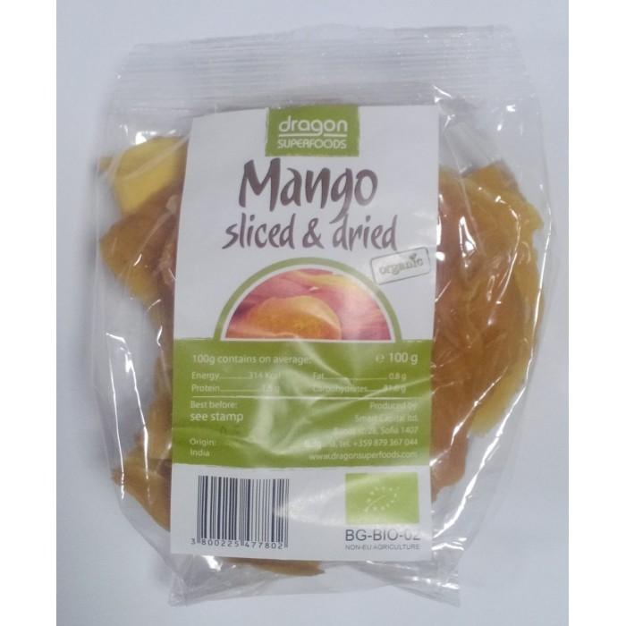 Mango uscat felii bio (100 g), Dragon Superfoods