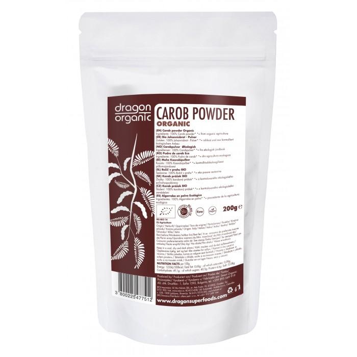 Pudra de carob (roscove) bio (200g), Dragon Superfoods