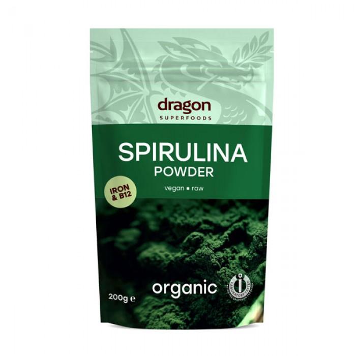 Spirulina pulbere raw bio (200 grame), Dragon Superfoods