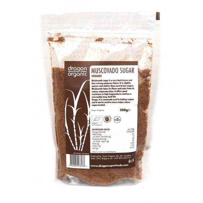 Zahar brun Muscovada bio (300 grame), Dragon Superfoods