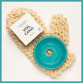 Manusa de baie Aloe Sisal insotita de sapunul Volcano si savoniera ceramica, Forster's Natural Products