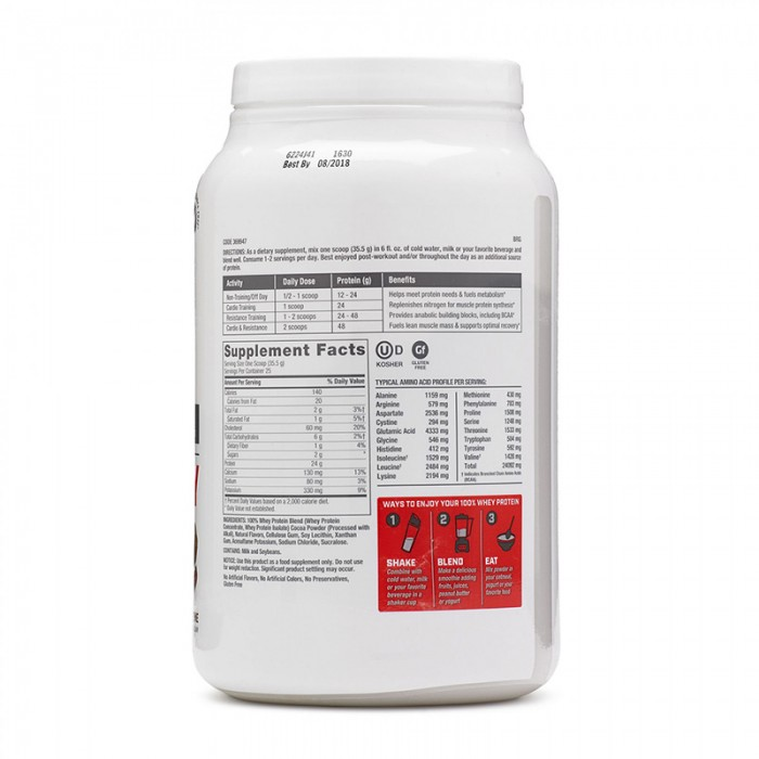 100% Whey Proteina din zer cu aroma de ciocolata (887.5 grame), GNC Pro Performance