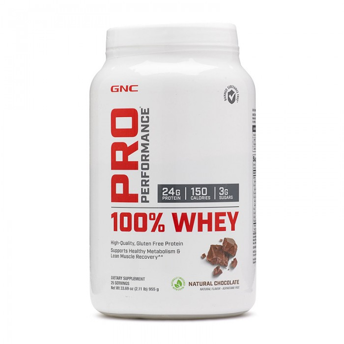 100% Whey Proteina din zer cu aroma naturala de ciocolata (955 grame), GNC Pro Performance
