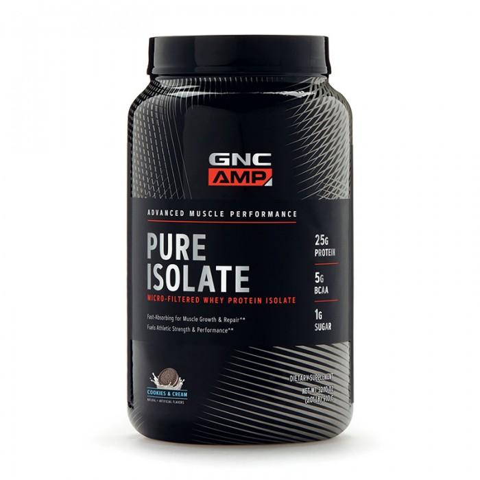 AMP Pure Isolate Proteina izolata din zer cu aroma de biscuiti si frisca (910 grame), GNC