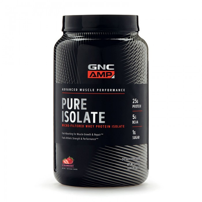 AMP Pure Isolate Proteina izolata din zer cu aroma de capsuni (882 grame), GNC