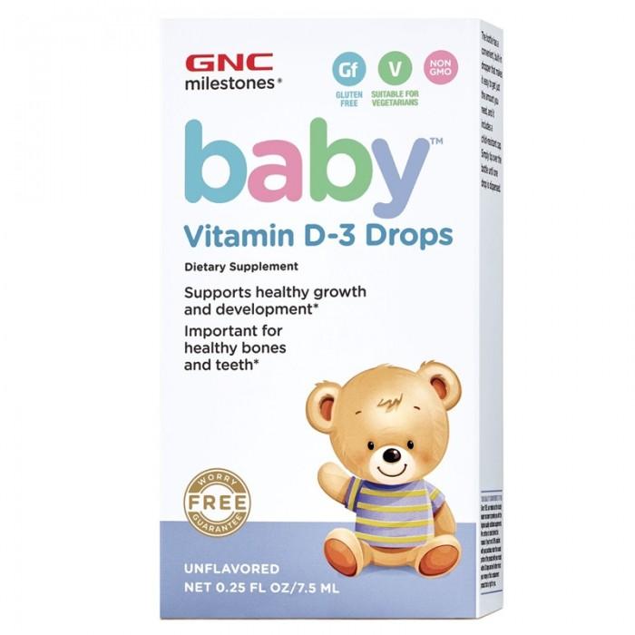Baby Picaturi cu Vitamina D-3 pentru bebelusi (7.5 ml), GNC Milestones