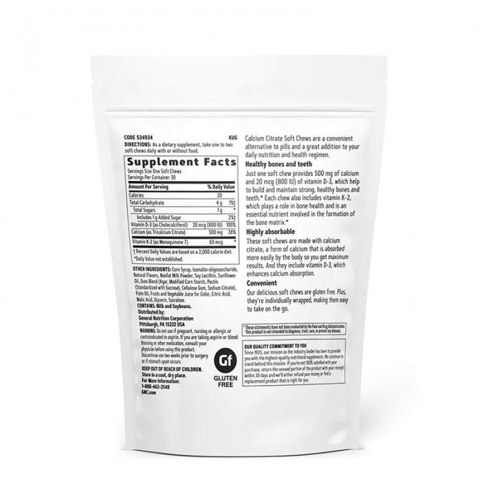Calciu Citrat Caramele cu aroma naturala de fructe de padure si frisca (30 caramele), GNC