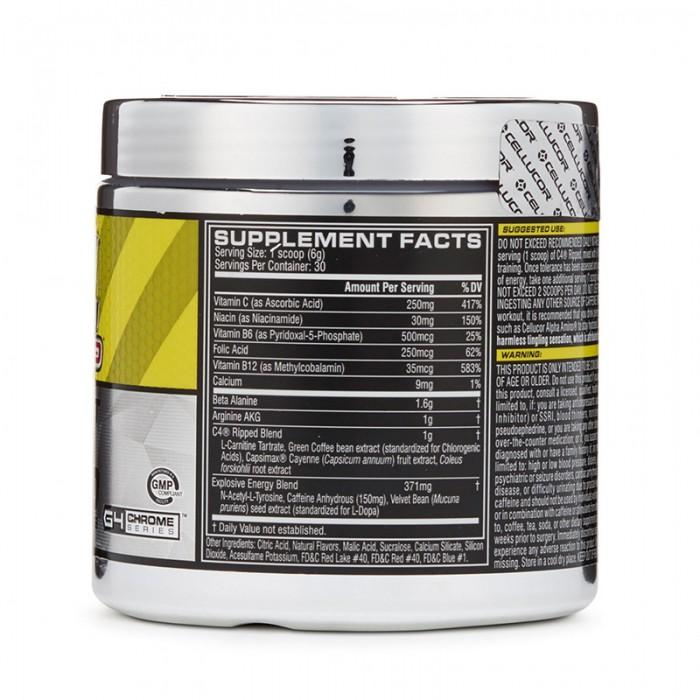 Cellucor C4 Ripped Formula pre-workout cu aroma de limonada cu zmeura (180 grame), GNC