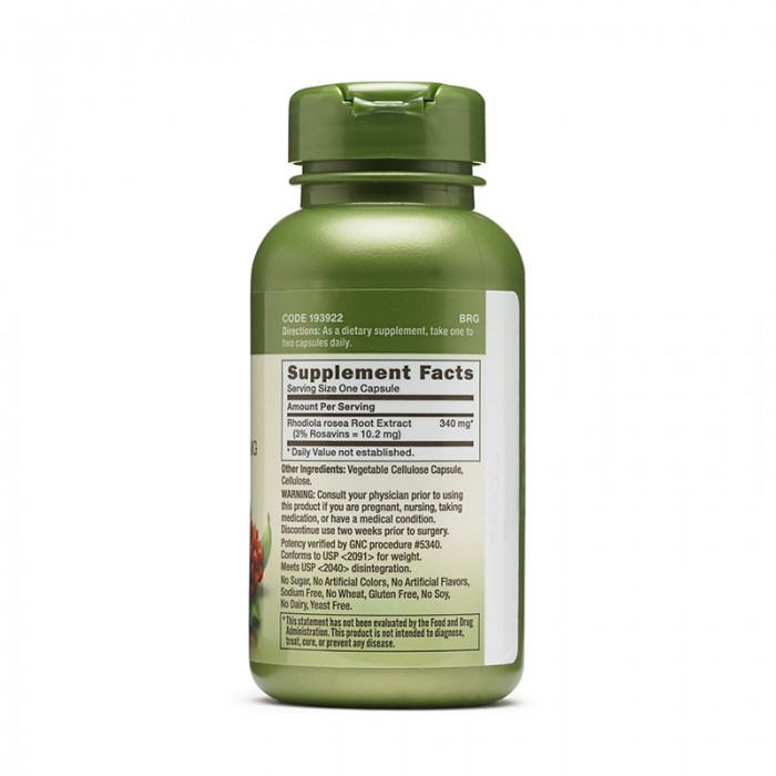 Extract standardizat de rodiola 340 mg (100 capsule), GNC Herbal Plus