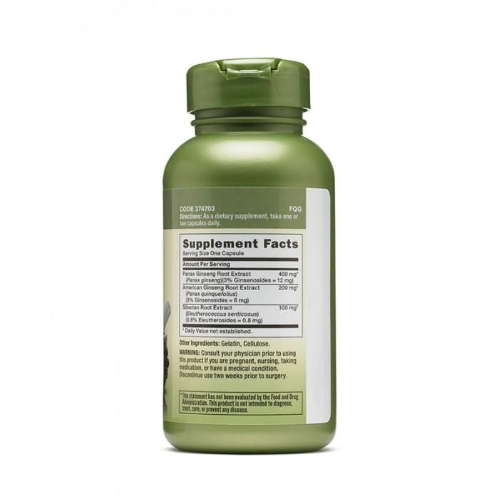 Extract standardizat din 3 tipuri de ginseng Triple Ginsa (100 capsule), GNC Herbal Plus