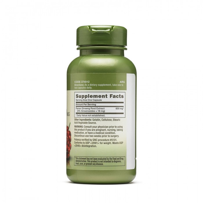 Extract standardizat de panax ginseng 600 mg (100 capsule), GNC Herbal Plus
