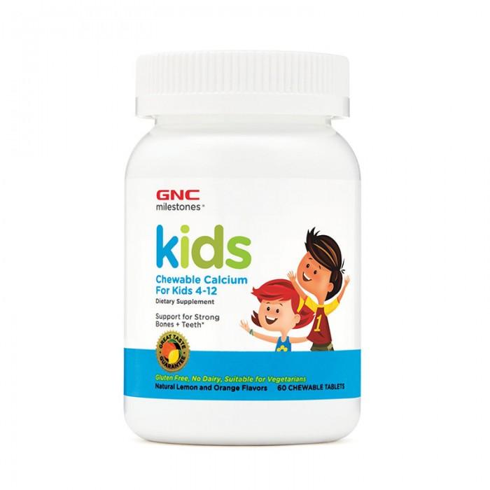 Calciu pentru copii 4-12 ani, cu aroma naturala de portocala si lamaie (60 capsule), GNC Milestones