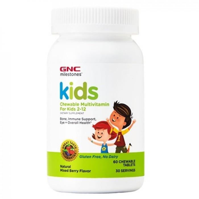 Kids Multivitamine Masticabile pentru copii 2-12 ani (60 tablete), GNC Milestones