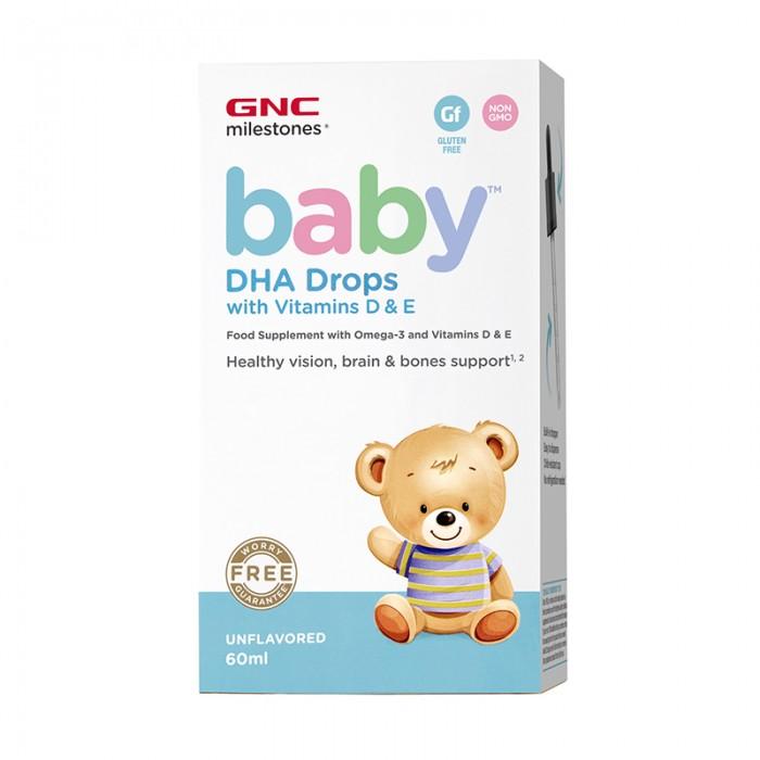 Baby Picaturi cu DHA + Vitamina D si E pentru bebelusi (60 ml), GNC Milestones