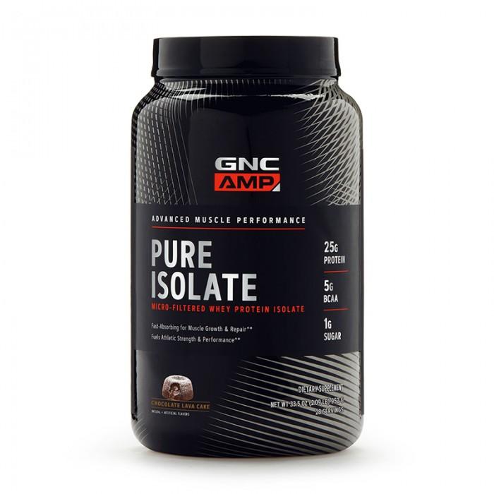 AMP Pure Isolate Proteina Izolata din zer cu aroma de lava cake de ciocolata (952 grame), GNC