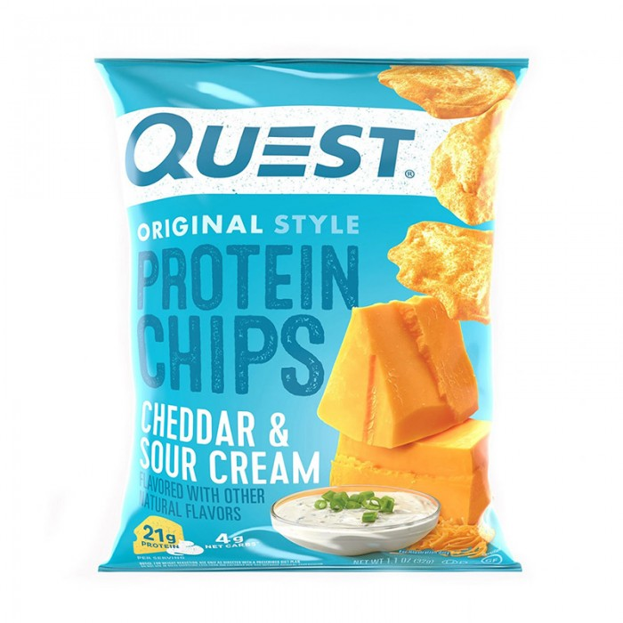 Quest Chipsuri proteice cu aroma de branza cheddar si smantana (32 grame), GNC