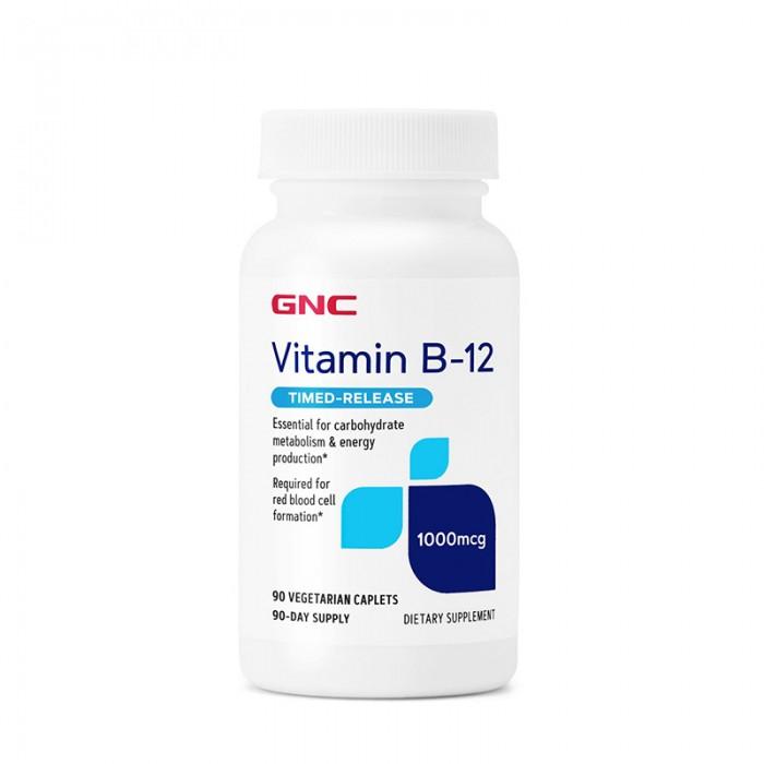 Vitamina B-12 1000 mcg cu eliberare prelungita (90 capsule vegetale), GNC