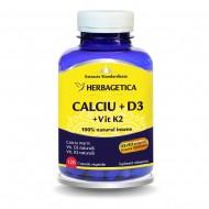 Calciu + D3 cu Vit K2 (120 capsule), Herbagetica