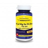 Ca+Mg+Se+Si+Zn cu Vit D3 Complex Forte (30 capsule), Herbagetica